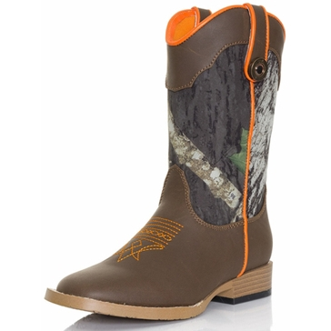 DBL Barrel Children Buckshot Mossy Oak Camo Cowboy Boots
