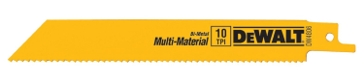 "Dewalt 6"" 10 TPI Straight Back Bi-Metal Reciprocating Saw Blade, General Purpose (5 pack) DW4806"