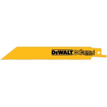 """Dewalt 8"""" 10/14 TPI Straight Back Bi-Metal Reciprocating Blade (5 pack) DW4846"""