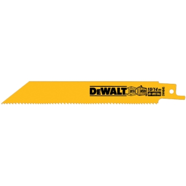 "Dewalt 8"" 10/14 TPI Straight Back Bi-Metal Reciprocating Blade (5 pack) DW4846"