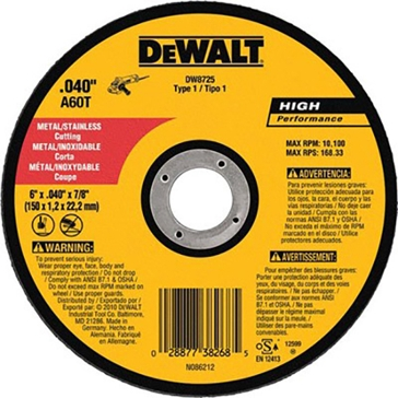 "Dewalt 6"" x .040"" x 7/8"" Metal and Stainless Cutting DW8725"