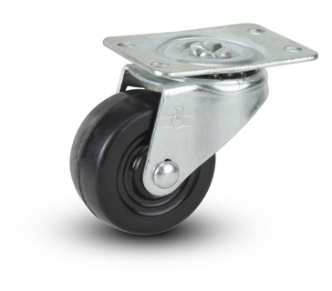 "Hard Rubber Swivel Plate Caster 2"" x 15/16"""