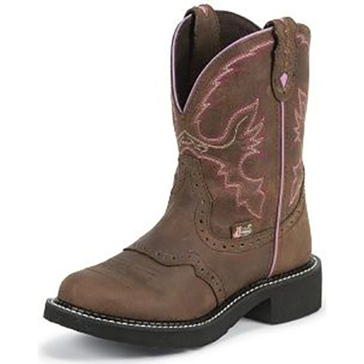 Justin Womens Brown Gypsy Cowgirl Boots With Pink Detail