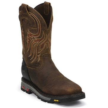 Justin Mens Commander Brown Steel Toe Cowboy Boots