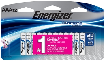 Energizer Lithium AAA Batteries 12PK