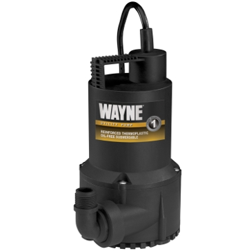 Wayne 1/6HP Thermoplastic Portable Sump Pump RUP-160