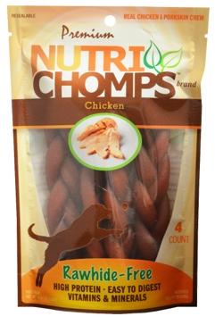 """Nutri Chomps 6"""" Braid  Chicken Flavor 4 Ct."""