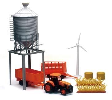 New Ray Kubota Farm Tractor & Grain Bin Tower Set