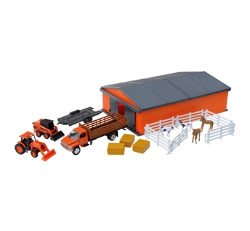 New Ray Kubota Farm Machine Shed Set
