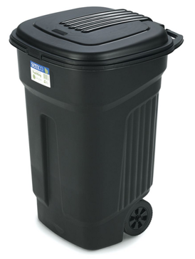 Semco 35 Gallon Square Trash Can Black Plastic