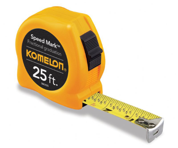 Komelon Speed Mark Fractional Tape Measure 25' x 1""