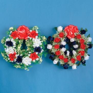 "Gerson 18"" RWB Open Rose Wreath"
