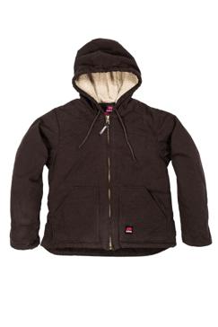 Berne Womens Washed Hooded Sherpa Lined Coat WHJ43
