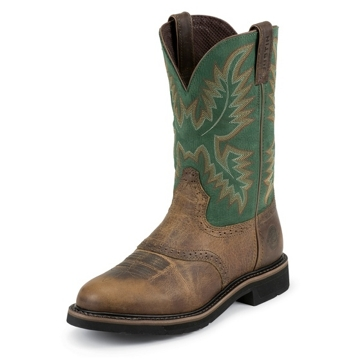 "Justin Mens 11"" Rugged Tan Stampede Cowboy Boots"