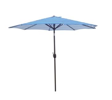 9ft Crank/Tilt Striped Umbrella - Blue