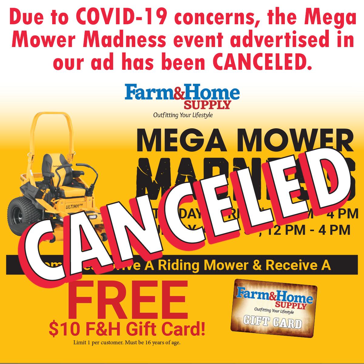 Mega Mower Madness Canceled