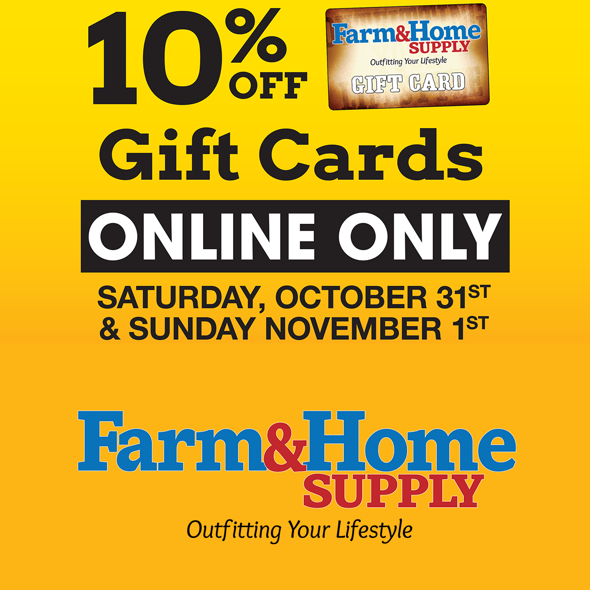 10% Off Gift Cards Online Only